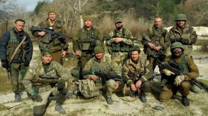 Los mercenarios del Grupo Wagner en el area de Starobeshevo en el Donetsk ucraniano
