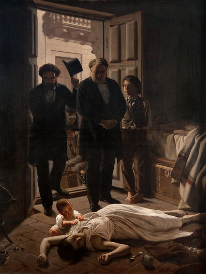 """""""Un episodio de la fiebre amarilla en Buenos Aires"""", tal el título del famoso cuadro."""