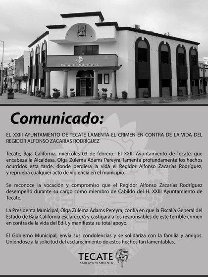 El Ayuntamiento de Tecate ha lamentado el asesinato (Foto: Facebook/Ayuntamiento de Tecate)