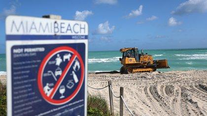 Vierten arena en las playas de Miami Beach (Joe Raedle/Getty Images/AFP)