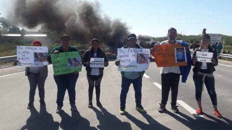 Una de las protestas de la familia Espinoza, durante la última semana en un corte de la Ruta Nacional Nº 65