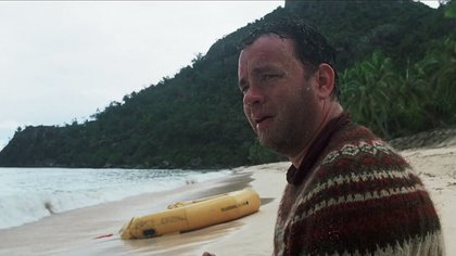 """Tom Hanks se puso en la piel de Chuck Noland, el protagonista de """"Náufrago"""", hace 20 años (ImDB)"""
