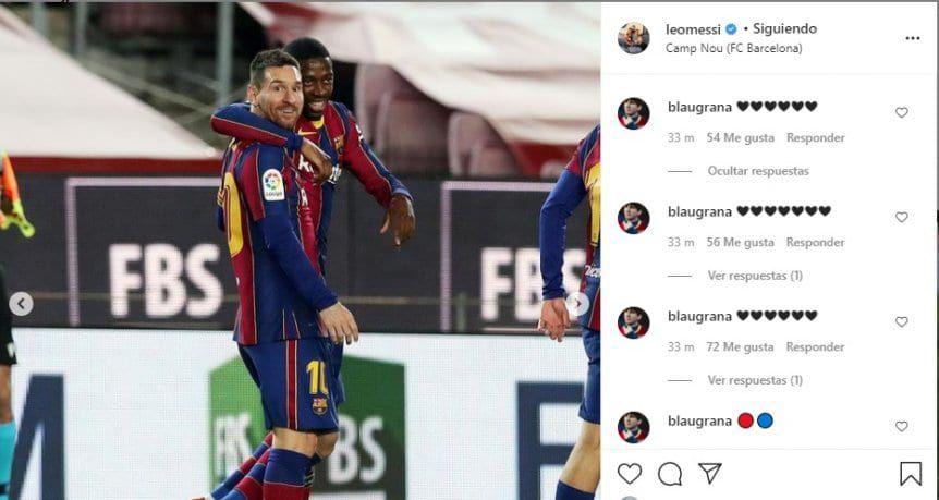 el posteo de Messi tras el triunfo de Barcelona ante el Bilbao