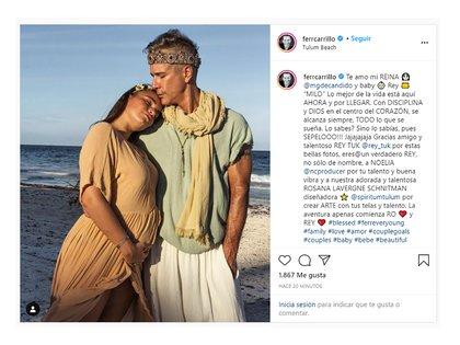 El posteo de Carrillo anunciando la llegada de su hijo (Instagram @ferrcarrillo)