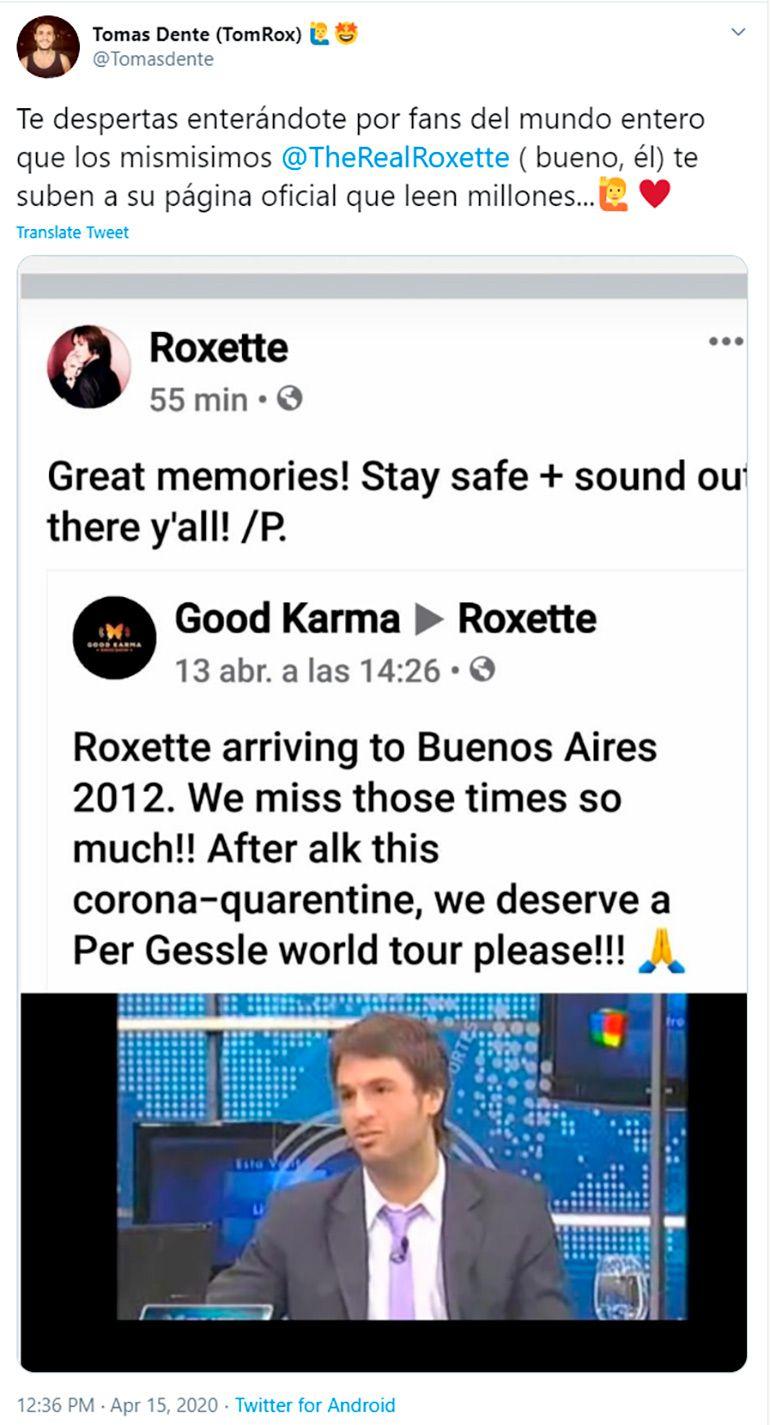 El posteo de Roxette en Facebook y la alegría de Dente en Twitter