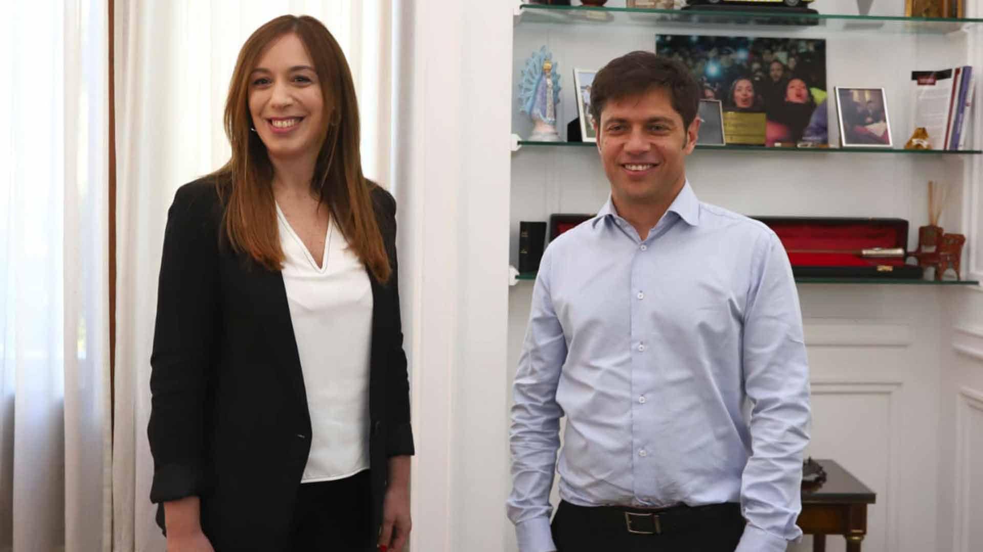 María Eugenia Vidal y el gobernador electo, Axel Kicillof
