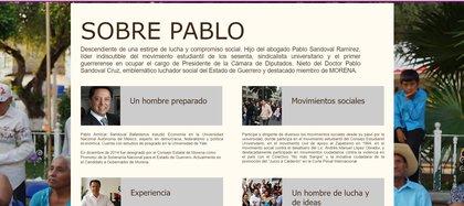Pablo también es Hermano de la secretaria de la Función Pública (SFP) Irma Eréndira Sadoval Ballesteros. (Foto: captura de pantalla a la página pablosandovalb.wixsite.com)