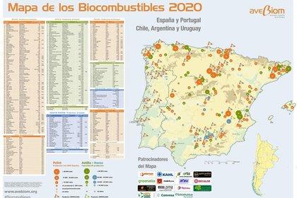 01/01/1970 Mapa de biocombustibles elaborado por Avebiom. POLITICA ESPAÑA EUROPA CASTILLA Y LEÓN AVEBIOM