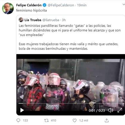 El ex mandatario reuiteó un video e donde se escucha a algunas mujeres insultando a las policías (Foto: Twitter@FelipeCalderon)