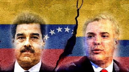 El dictador venezolano Nicolás Maduro y el presidente colombiano Iván Duque. El primero encabeza una escalada en las tensiones entre ambos países