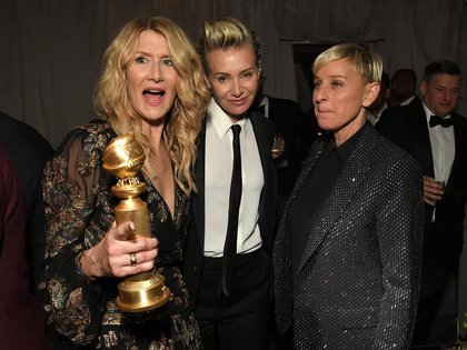 El reencuentro de Laura Dern y Ellen DeGeneres, junto con Portia de Rossi, en los festejos de los Globos de Oro, el 5 de enero de este año (Foto: Shutterstock)