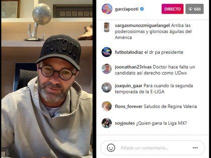 En una transmisión en vivo a través de su cuenta oficial de Instagram, Luis García Postigo rompió la formalidad que mantiene en la televisión mexicana (Foto: captura Instagram/@garciaposti)
