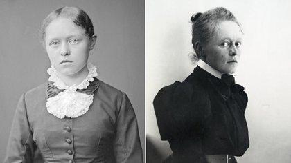 Dos fotos de Helene Schjerfbeck, la primera en 1880, la segunda en 1890