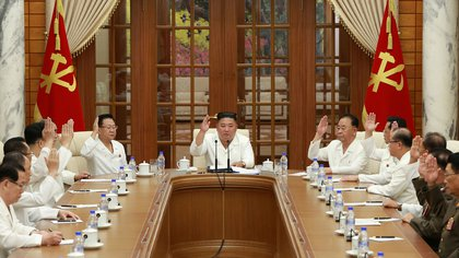 North Korean leader Kim Jong Un attends an enlarged meeting of the Political Bureau of the 7th Central Committee of the Workers' Party of Korea (WPK), in Pyongyang, North Korea, in this image released August 25, 2020 by North Korea's Korean Central News Agency (KCNA)  KCNA via REUTERS    ATTENTION EDITORS - THIS IMAGE WAS PROVIDED BY A THIRD PARTY. REUTERS IS UNABLE TO INDEPENDENTLY VERIFY THIS IMAGE. NO THIRD PARTY SALES. SOUTH KOREA OUT. NO COMMERCIAL OR EDITORIAL SALES IN SOUTH KOREA.