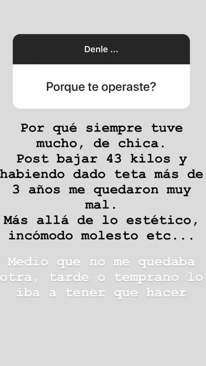 Captura de las historias de Juana Repetto en Instagram sobre su paso por el quirófano
