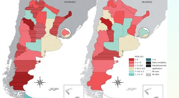 Ejemplo de cifras de cáncer colorrectal en Argentina en 2012