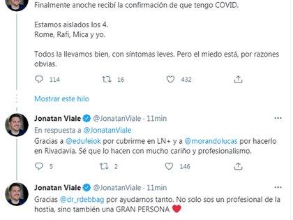 Jonatan Viale confirmó que tiene coronavirus