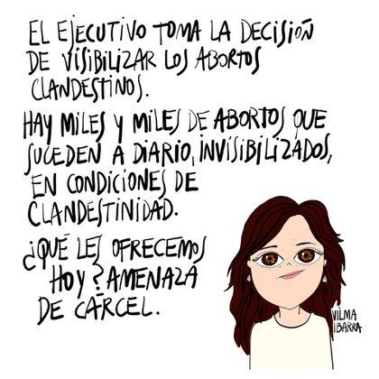 En un dibujo de Ro Ferrer se puede compartir el discurso de Vilma Ibarra en el Congreso para que el Estado no castigue, sino contenga a las mujeres que van a abortar. (Ro Ferrer)