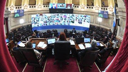 La sesión en el Senado, en el mes de junio, donde se sancionó la Ley de Alquileres