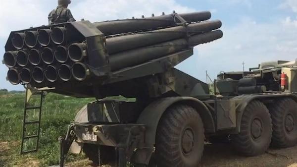 Un lanzador de misiles Uragan como el utilizado por Irán para atacar a Israel
