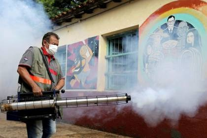 Un trabajador sanitario federal participa de una fumigación para evitar la proliferación del mosquito que transmite el dengue en la Escuela Nacional San Lorenzo, en un vecindario de bajos ingresos de San Lorenzo, Paraguay. 12 de febrero, 2020. REUTERS/Jorge Adorno