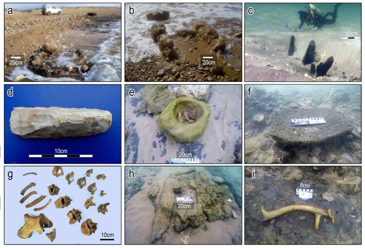 (A) Artefactos de Tel Hreiz y (B) características de piedra en aguas poco profundas. (C) Postes de madera excavados en el fondo marino. (D) Una cuchilla de piedra. (E) Un tazón de piedra arenisca. (F) Una piedra de basalto. (G) Restos funerarios. (H) Una tumba de piedra. (I) Una cornamenta de gamo mesopotámico (E. Galili / V. Eshed)