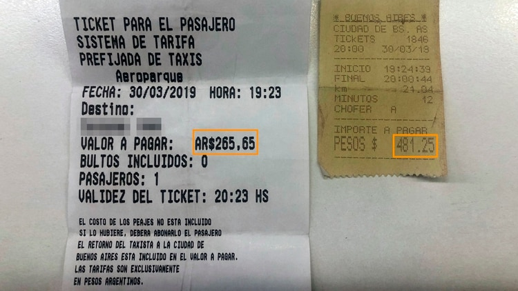 Diferencias de valores entre el sistema de tarifas prefijadas y el valor del viaje con el tradicional taxímetro.