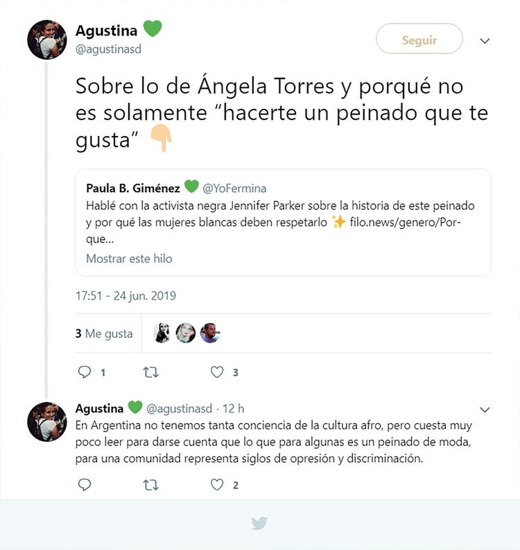Pretendida fundamentación del ataque contra Angela Torres. Con cita a una activista estadounidense incluida