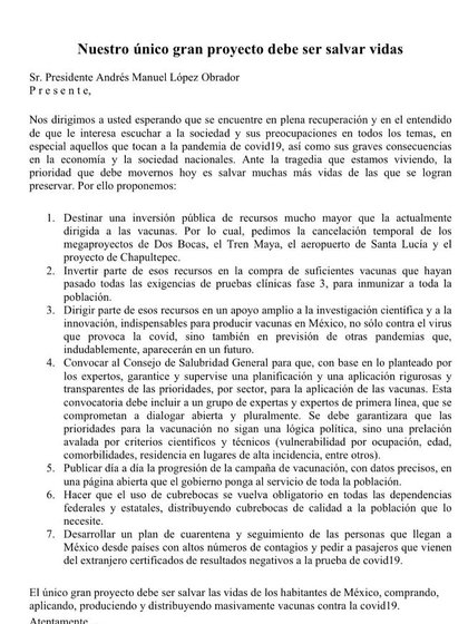 La carta de intelectuales, científicos y académicos en la que solicitan a Andrés Manuel López Obrador, hacer un cambio en la estrategia contra el COVID-19 (Imagen: @almaldo2)