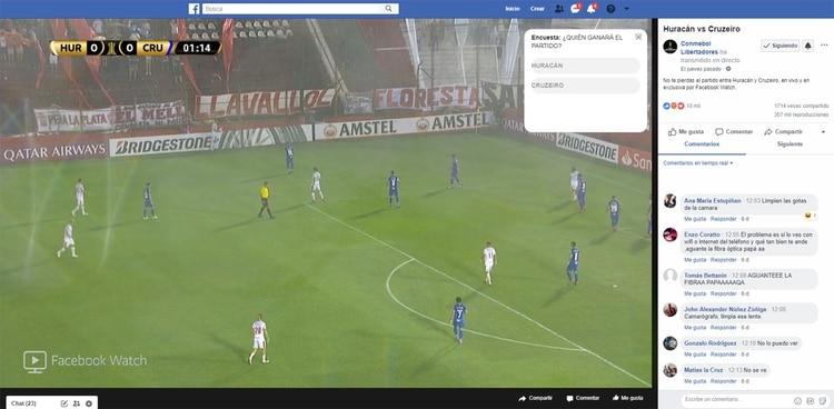 El público puede ver el partido por Facebook e interactuar en los comentarios.