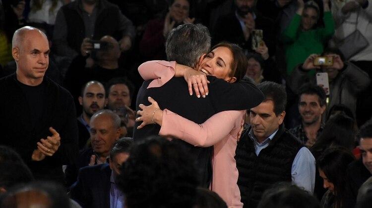 Macri y Vidal el jueves a la noche en Vicente López (Nicolás Stulberg)