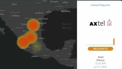 After Izzi started failures in Axtel, but the company has not explained the cause of the blackout (Photo: Twitter @ outagedetect)