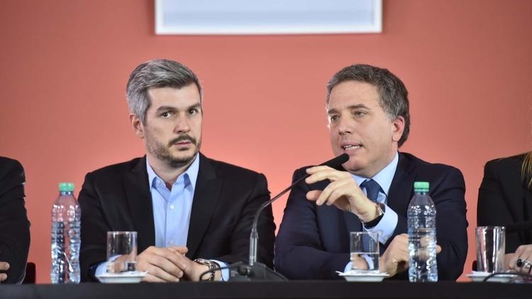El Jefe de Gabinete Marcos Peña y el ministro de Hacienda y Finanzas Nicolás Dujovne (Guillermo llamos)