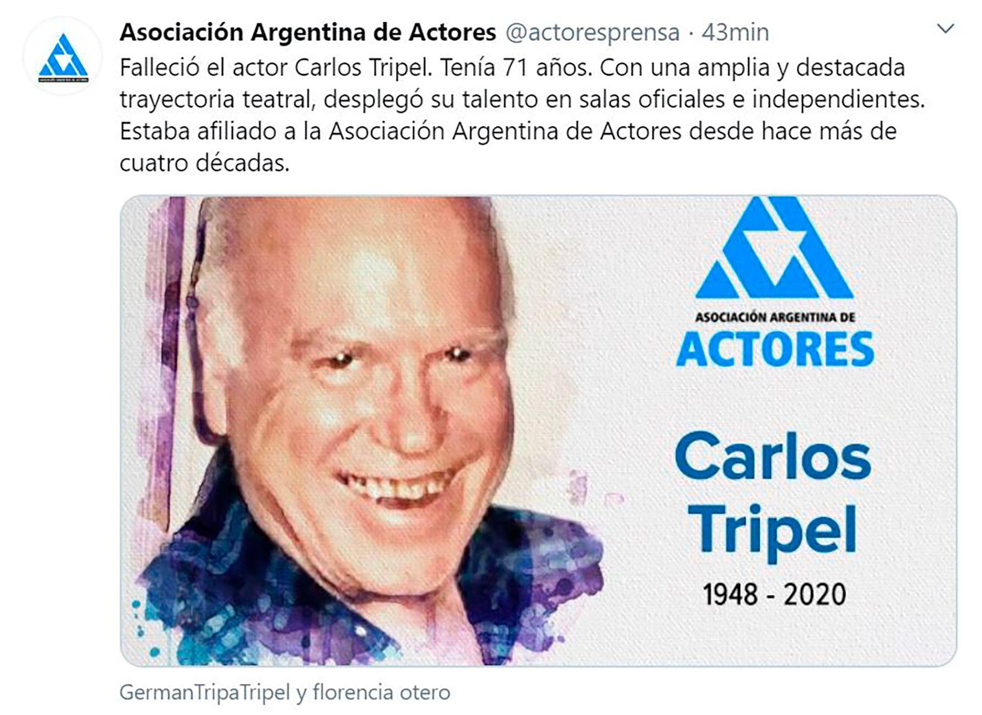 El mensaje de la Asociación Argentina de Actores (AAA)