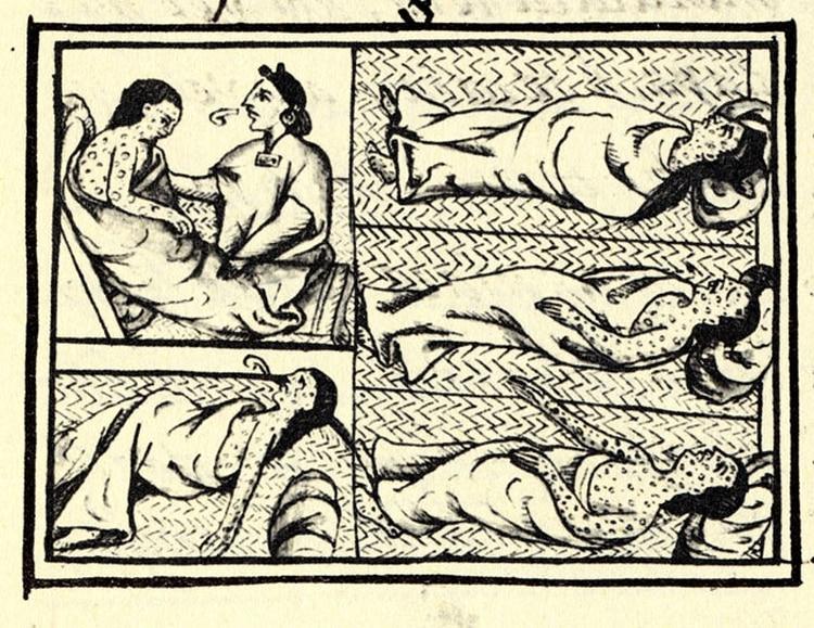 Ilustración que obtenida de un compendio de materiales e información sobre la historia azteca y nahua recopilada por Fray Bernardino de Sahagún. Muestra a nahuas infectados con la enfermedad de la viruela (Foto: Wikipedia)
