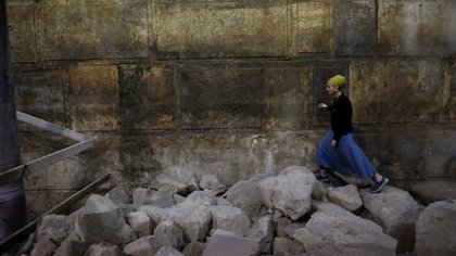 """Las excavaciones comenzaron en el """"Arco de Wilson"""" y continuaron debajo del Muro de los Lamentos (Reuters)"""