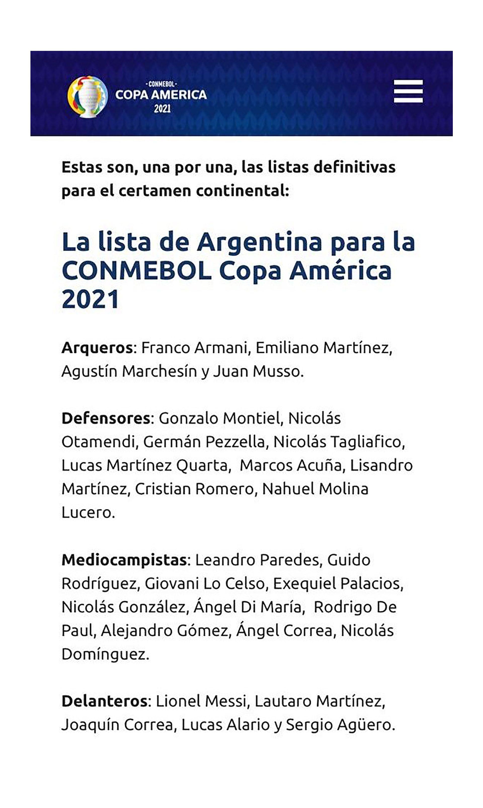 LISTA ARGENTINA COPA AMERICA