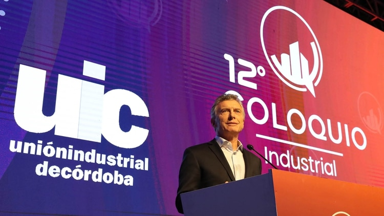Mauricio Macri durante su participación en el Coloquio Industrial de Córdoba (Télam)