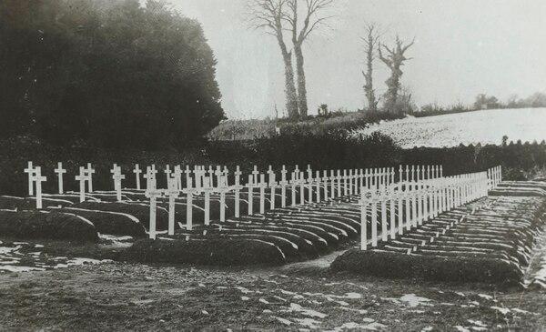 100 soldados estadounidenses fueron enterrados en Devon, Inglaterra, donde fallecieron a causa de la gripe española en 1918 (National Archives)