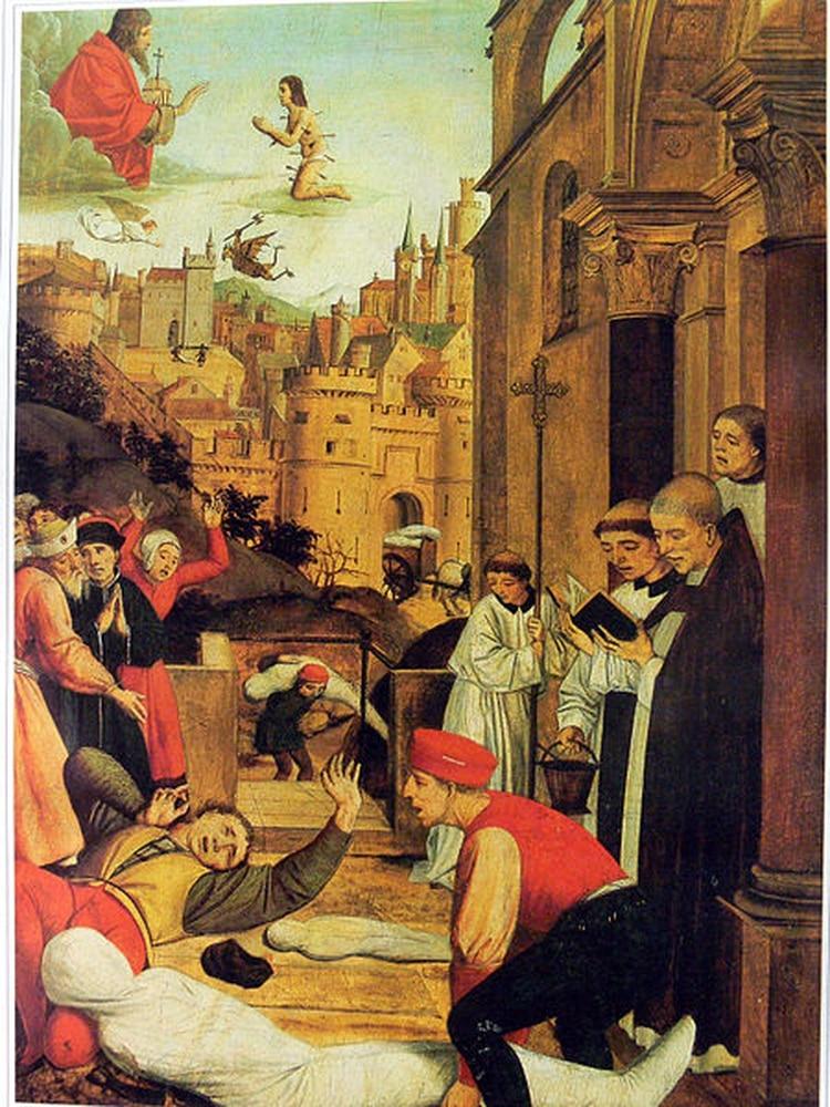 Pintura de San Sebastián suplicando por la vida de un sepulturero afligido por la peste durante la Plaga de Justiniano del siglo VI (Foto: Wikipedia)