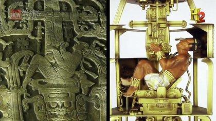 Parte de la lápida de Pakal y la interpretación del autor