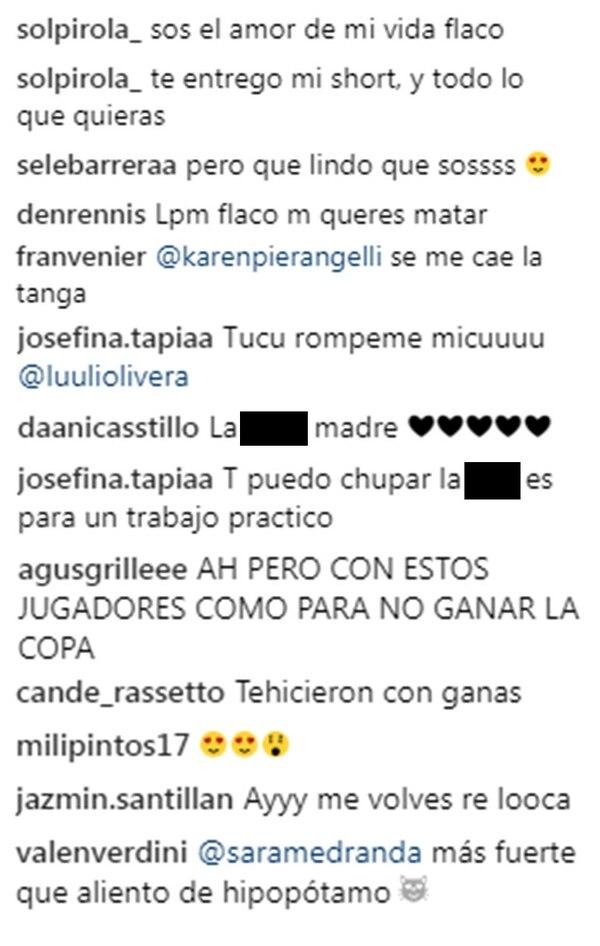 Algunos de los comentarios en la cuenta de Instagram de Joaquín Correa