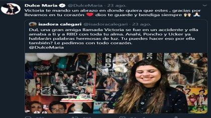 Dulce María también dedicó un mensaje a Victoria para agradecerle por seguirlos durante mucho tiempo (Captura de pantalla: Twitter @DulceMaria)