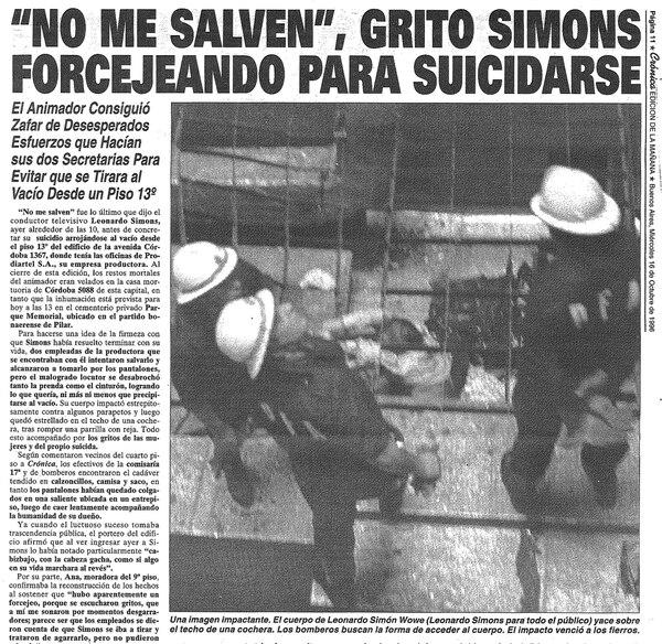 La noticia sobre la muerte de Simons impactó a un país que lo admiraba (Diario Crónica)