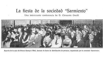 La fiesta de la Sociedad Sarmiento.