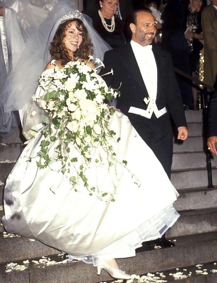 Mariah Carey en su boda con Tommy Mottola