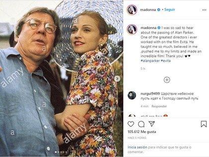 Publicación de Madonna sobre la muerte de Alan Parker