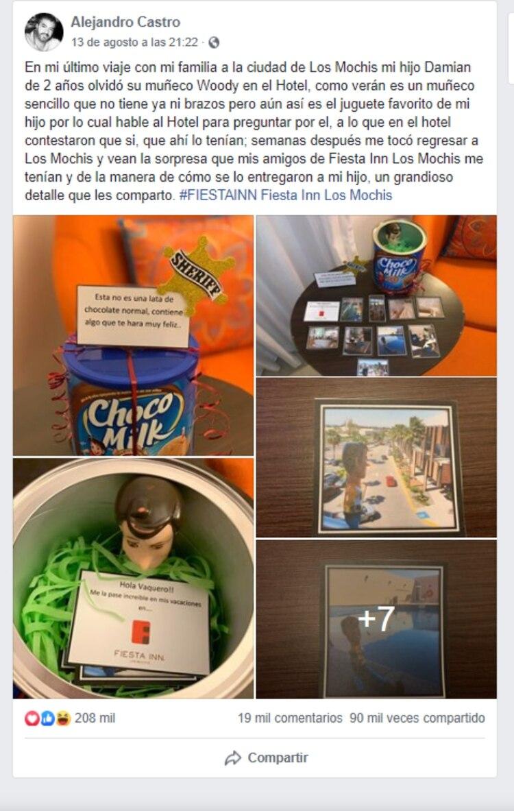 Así compartió el padre del pequeño el noble gesto que tuvieron los empleados del hotel (Foto: Captura de pantalla de Facebook)