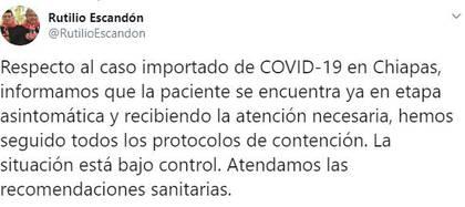 El caso en Chiapas era asintomático (Foto: Twitter/RutilioEscandon)