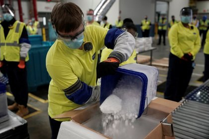 Las dosis también viajan en contenedores refrigerados destinados especialmente para el almacenamiento de materiales médicos